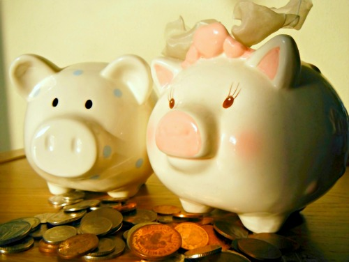 Piggy banks saving money