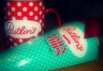 Butlin's mug and 'fish and chips' chocolate