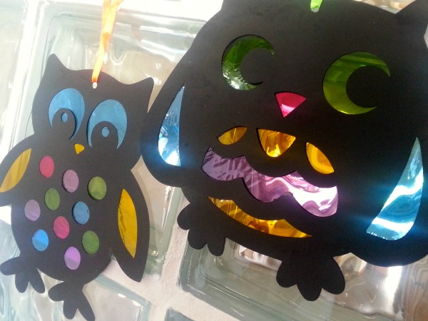 Baker Ross, stained glass effect owls, homemade Halloween decorations