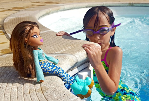 Girl Swimming with Bratz Remix Yasmin Doll